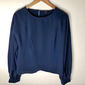EXPRESS navy blue blouse w/keyhole back size s